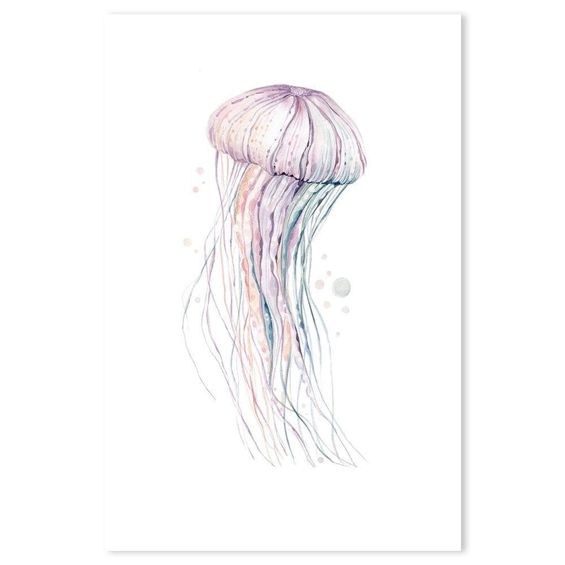 Wall-Art-Poster-Canvas-Framed-Jellyfish, watercolour painting-Gioia Wall Art