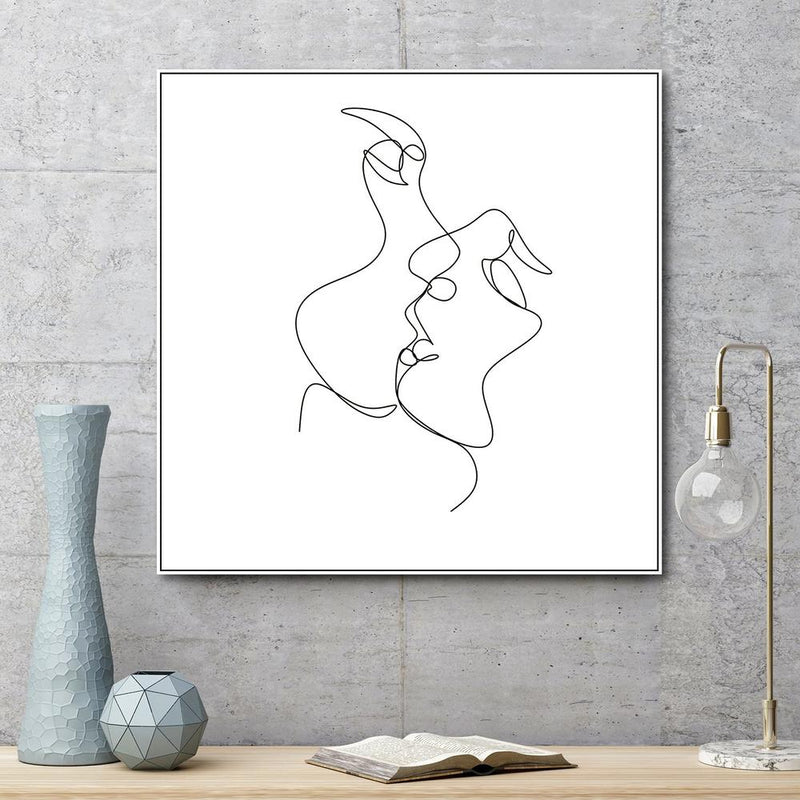 Wall-Art-Poster-Canvas-Framed-Kissing Line Art-Gioia Wall Art