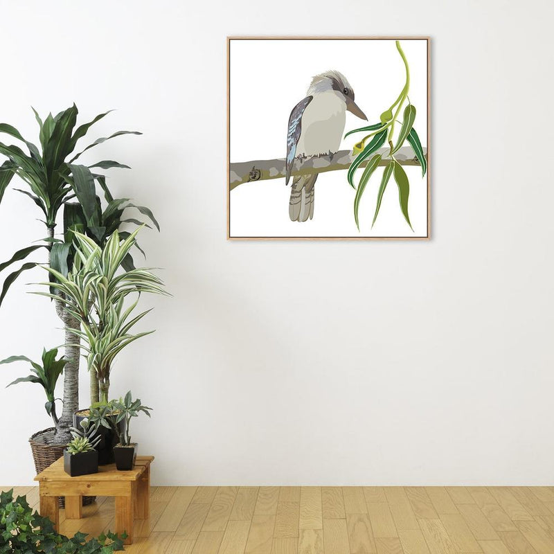 Wall-Art-Poster-Canvas-Framed-Kookaburra in Eucalyptus Branch-Gioia Wall Art