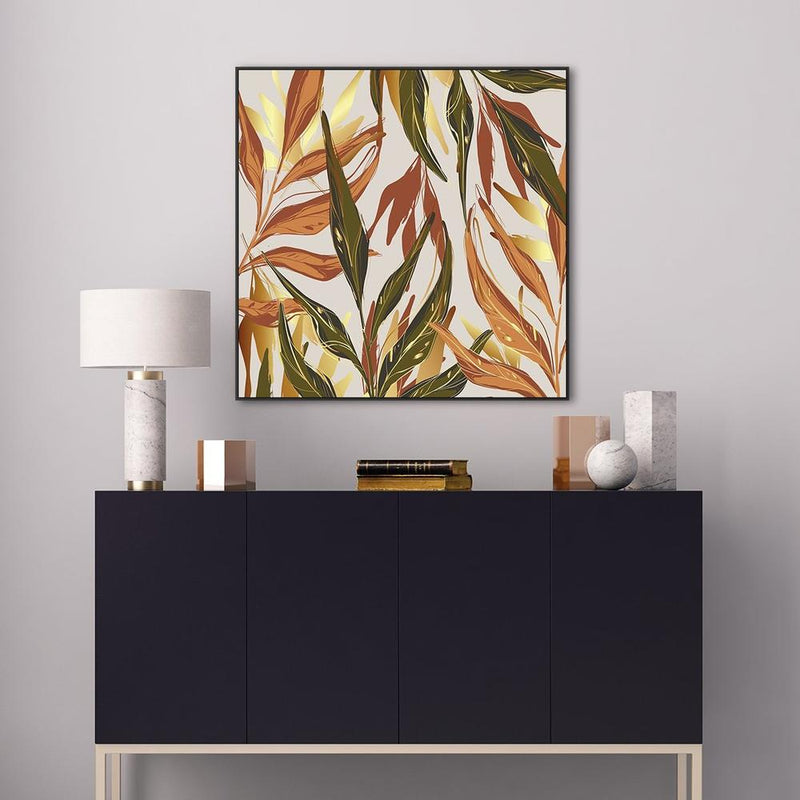 Wall-Art-Poster-Canvas-Framed-Leaves in rusty green, orange and gold-Gioia Wall Art