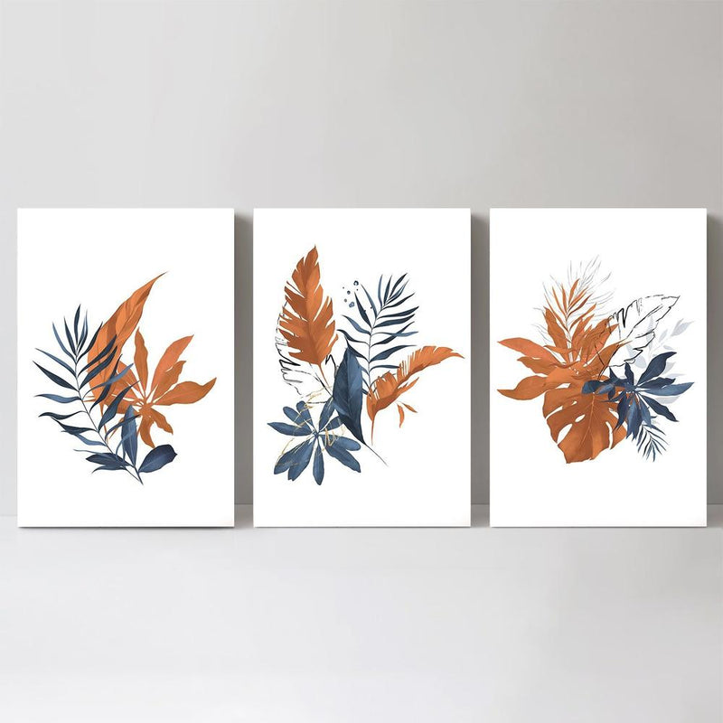 Wall-Art-Poster-Canvas-Framed-Leaves Painting Indigo and Tan, Set Of 3-Gioia Wall Art