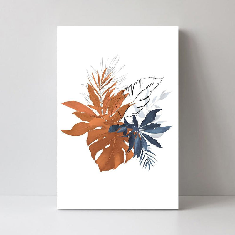 Wall-Art-Poster-Canvas-Framed-Leaves Painting, Indigo and Tan, Style C-Gioia Wall Art