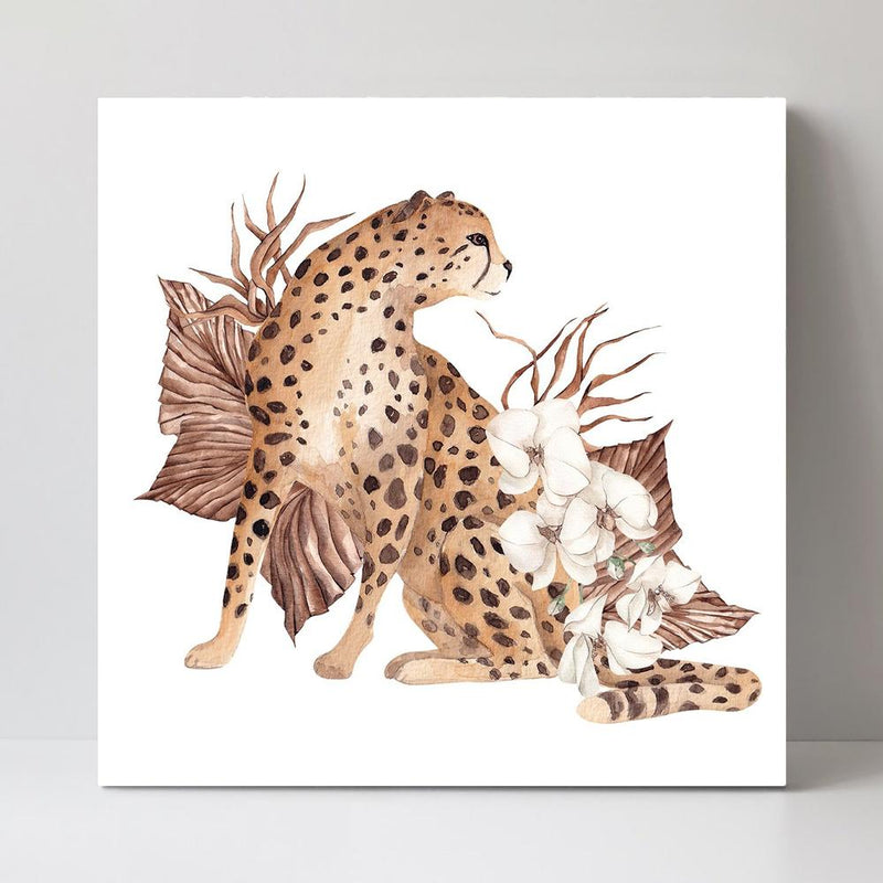Wall-Art-Poster-Canvas-Framed-Leopard Illustration-Gioia Wall Art