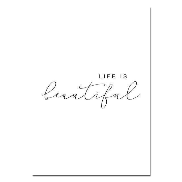 Wall-Art-Poster-Canvas-Framed-Life Is Beautiful, Calligraphy Quotes-Gioia Wall Art