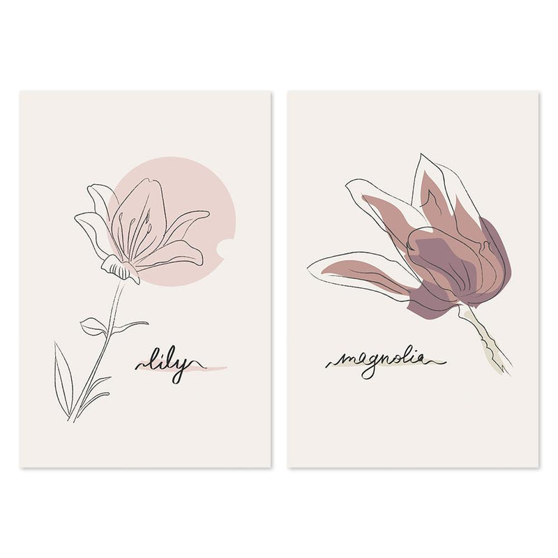 Wall-Art-Poster-Canvas-Framed-Lily And Magnolia, Set Of 2-Gioia Wall Art