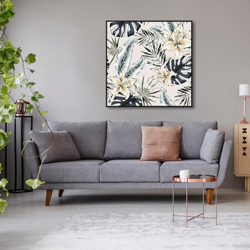 Wall-Art-Poster-Canvas-Framed-Lily Flowers And Grey Tropical Leaves-Gioia Wall Art