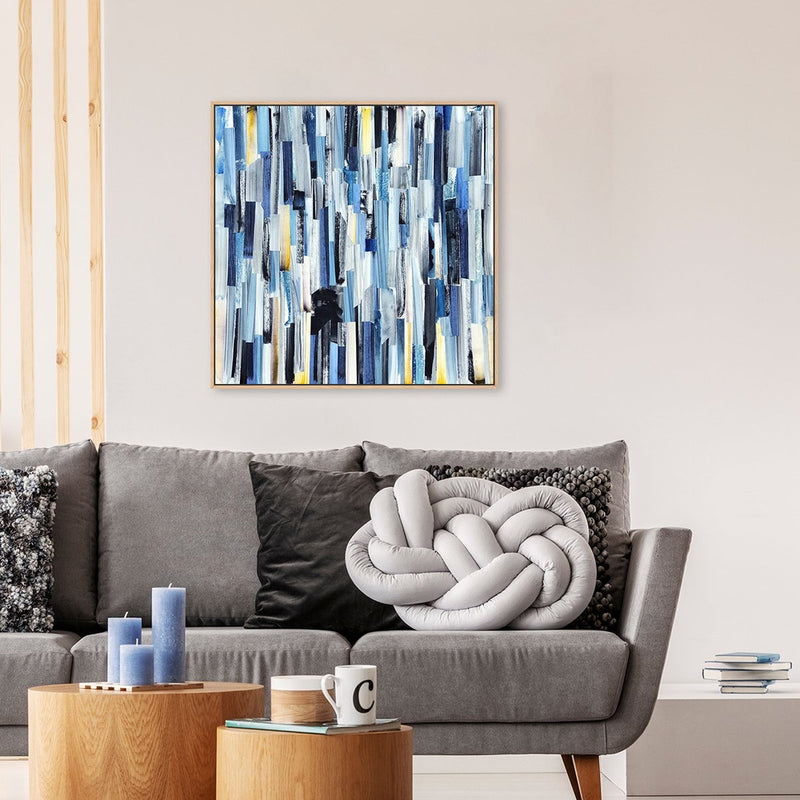 Wall-Art-Poster-Canvas-Framed-Linked, Blue And Gold, Abstract Art-Gioia Wall Art