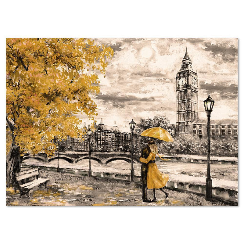 Wall-Art-Poster-Canvas-Framed-Love in London, Oil Painting Style-Gioia Wall Art