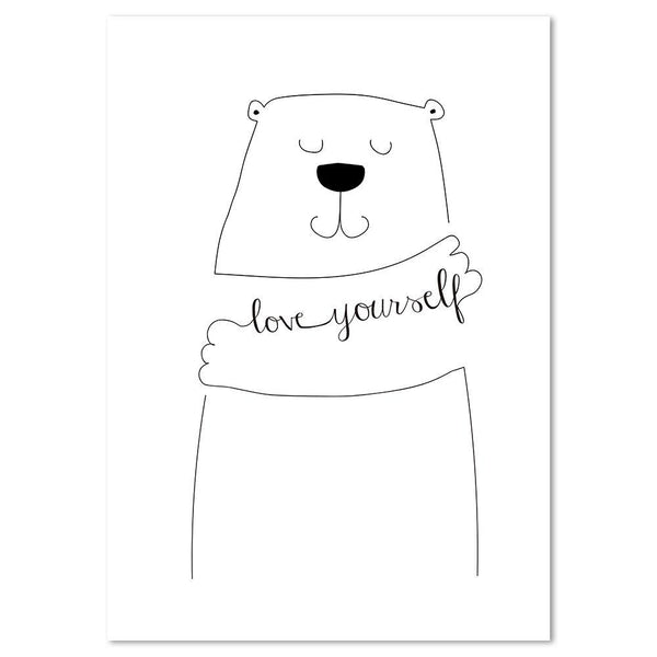 Wall-Art-Poster-Canvas-Framed-Love yourself, Bear Hug-Gioia Wall Art