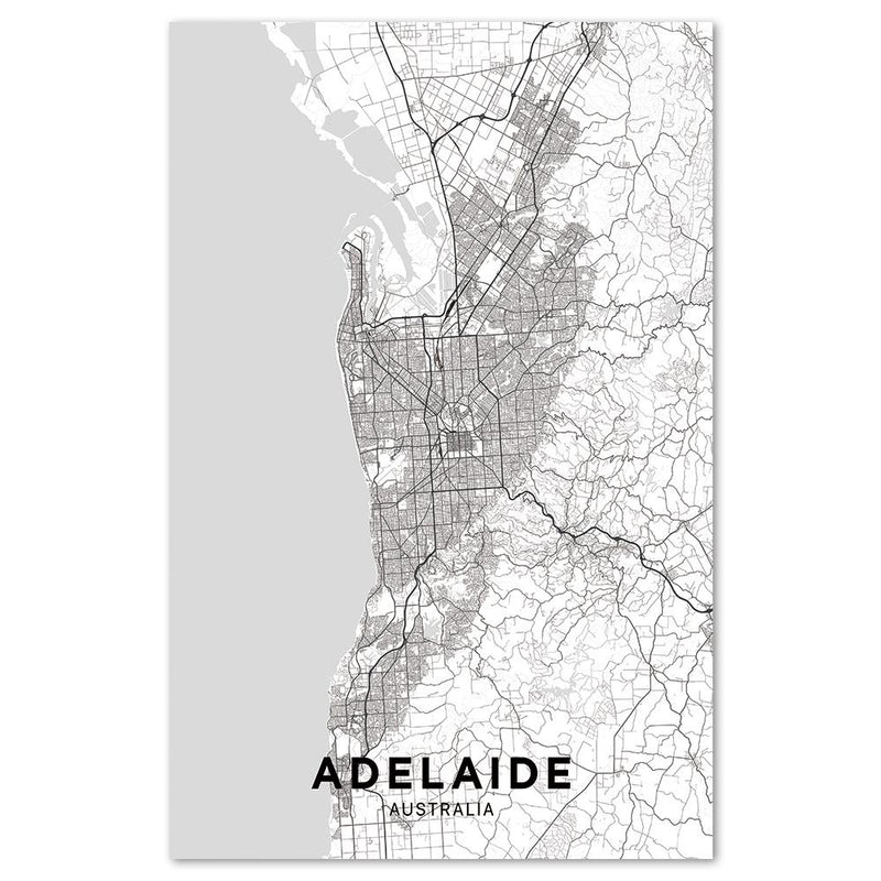Wall-Art-Poster-Canvas-Framed-Map of Adelaide, black and white-Gioia Wall Art