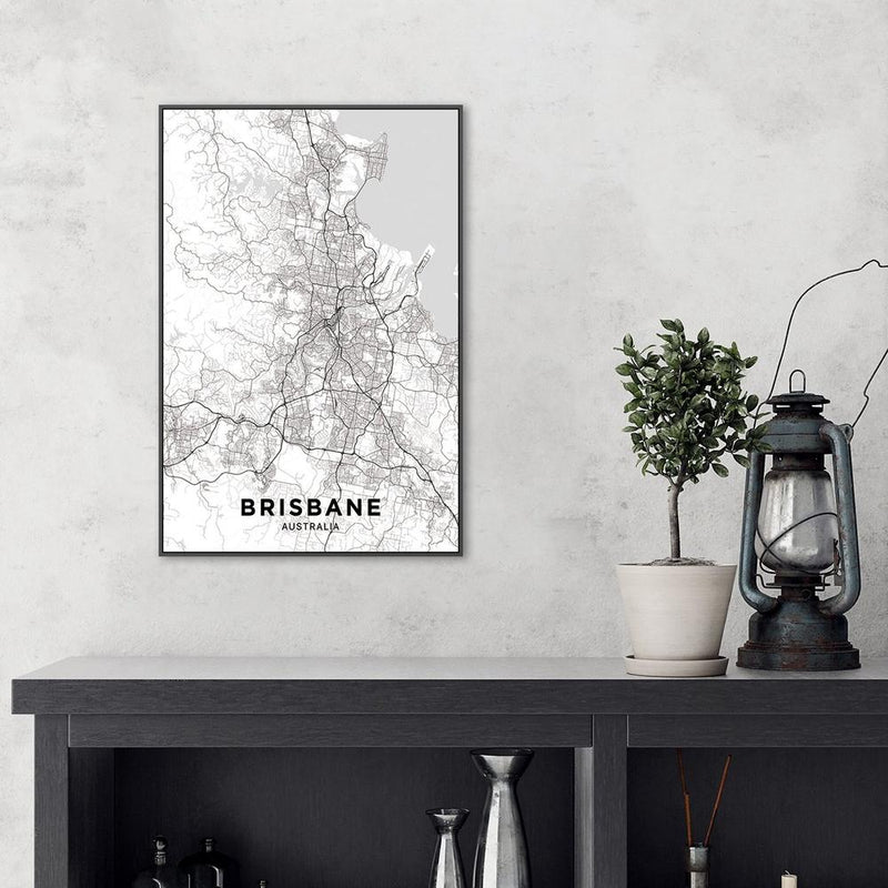 Wall-Art-Poster-Canvas-Framed-Map of Brisbane, Black and White-Gioia Wall Art