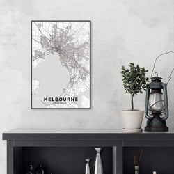 Wall-Art-Poster-Canvas-Framed-Map of Melbourne, Black and White-Gioia Wall Art
