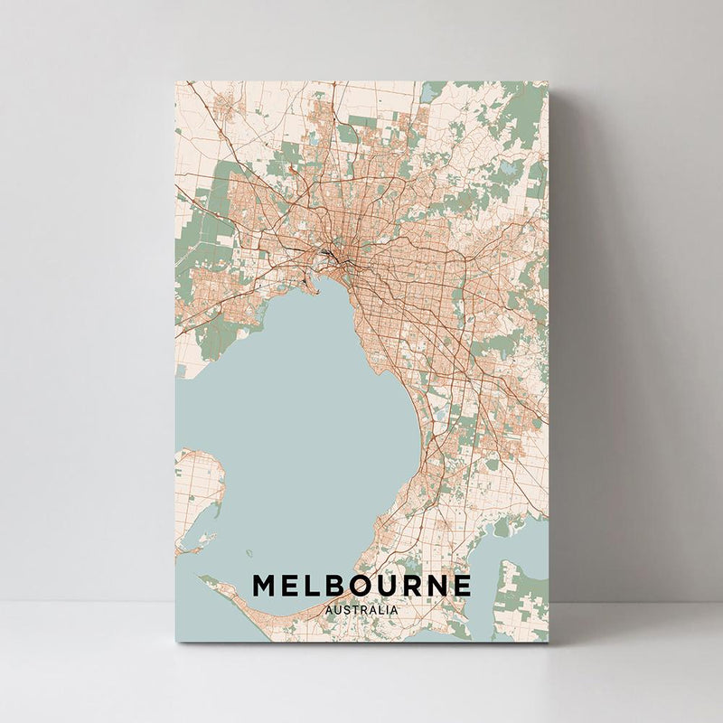 Wall-Art-Poster-Canvas-Framed-Map of Melbourne, Coloured-Gioia Wall Art