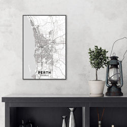 Wall-Art-Poster-Canvas-Framed-Map of Perth, Black and White-Gioia Wall Art