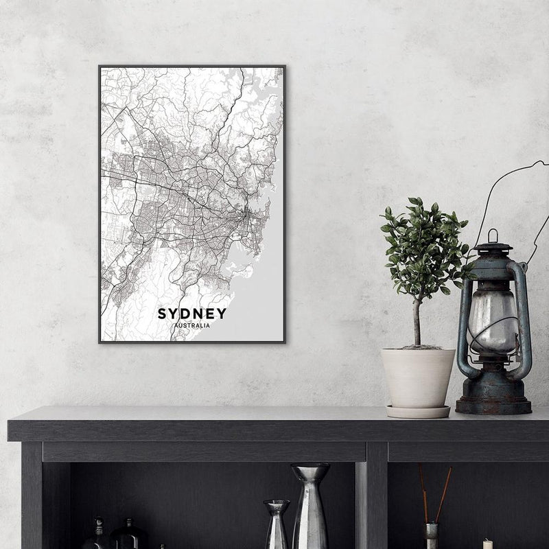 Wall-Art-Poster-Canvas-Framed-Map of Sydney, Black and White-Gioia Wall Art