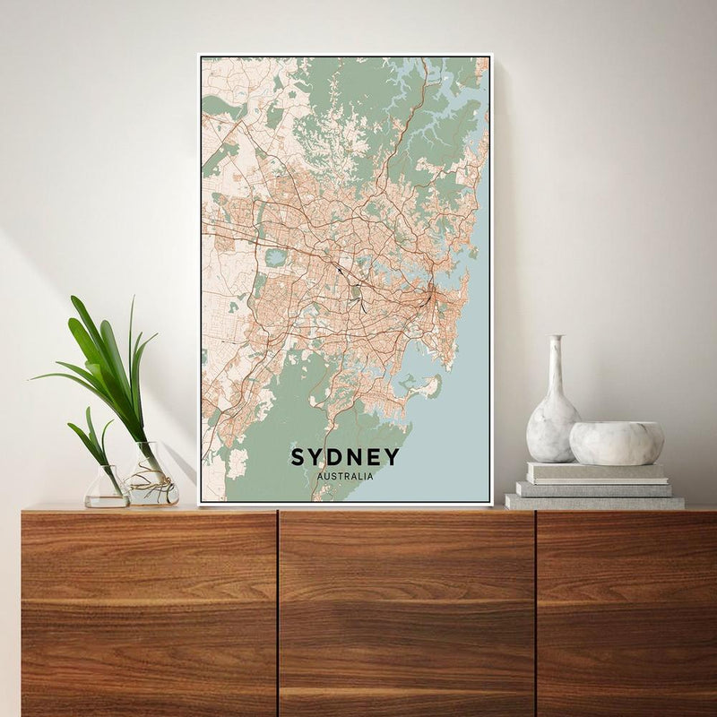Wall-Art-Poster-Canvas-Framed-Map of Sydney, Coloured-Gioia Wall Art
