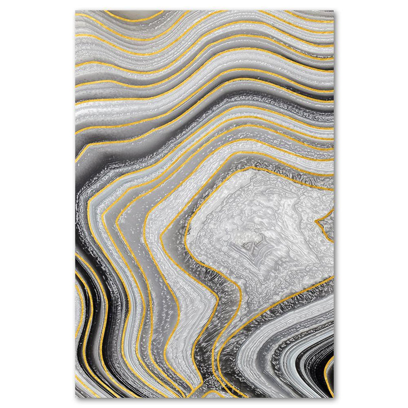 Wall-Art-Poster-Canvas-Framed-Marble Pattern, Yellow, Grey, Black, Style A-Gioia Wall Art