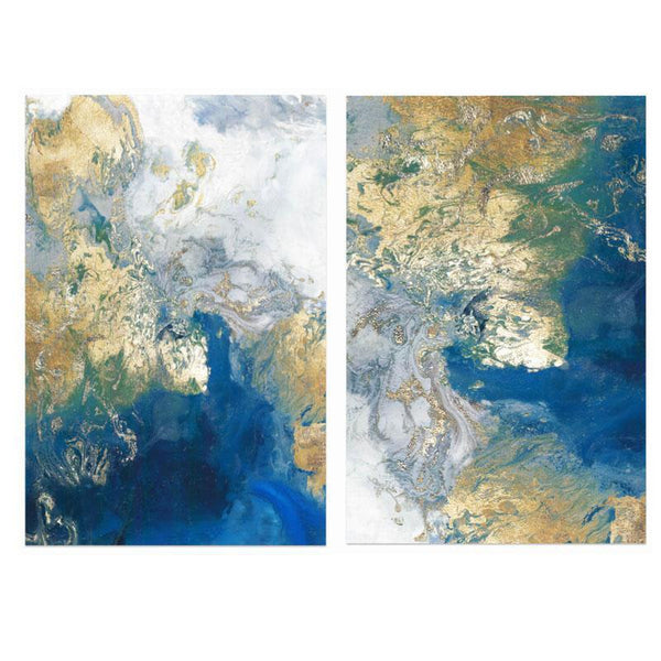 Wall-Art-Poster-Canvas-Framed-Marbled Blue and Gold, Abstract Art, Set Of 2, Style A-Gioia Wall Art