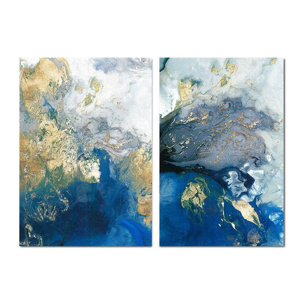 Wall-Art-Poster-Canvas-Framed-Marbled Blue and Gold, Abstract Art, Set Of 2, Style B-Gioia Wall Art