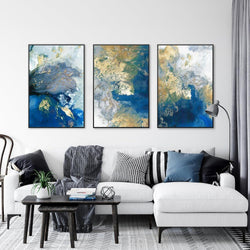Wall-Art-Poster-Canvas-Framed-Marbled Blue and Gold Abstract Art, Set Of 3-Gioia Wall Art
