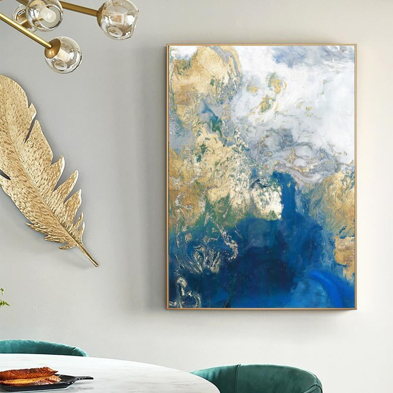 Wall-Art-Poster-Canvas-Framed-Marbled Blue and Gold, Abstract Art, Style A-Gioia Wall Art