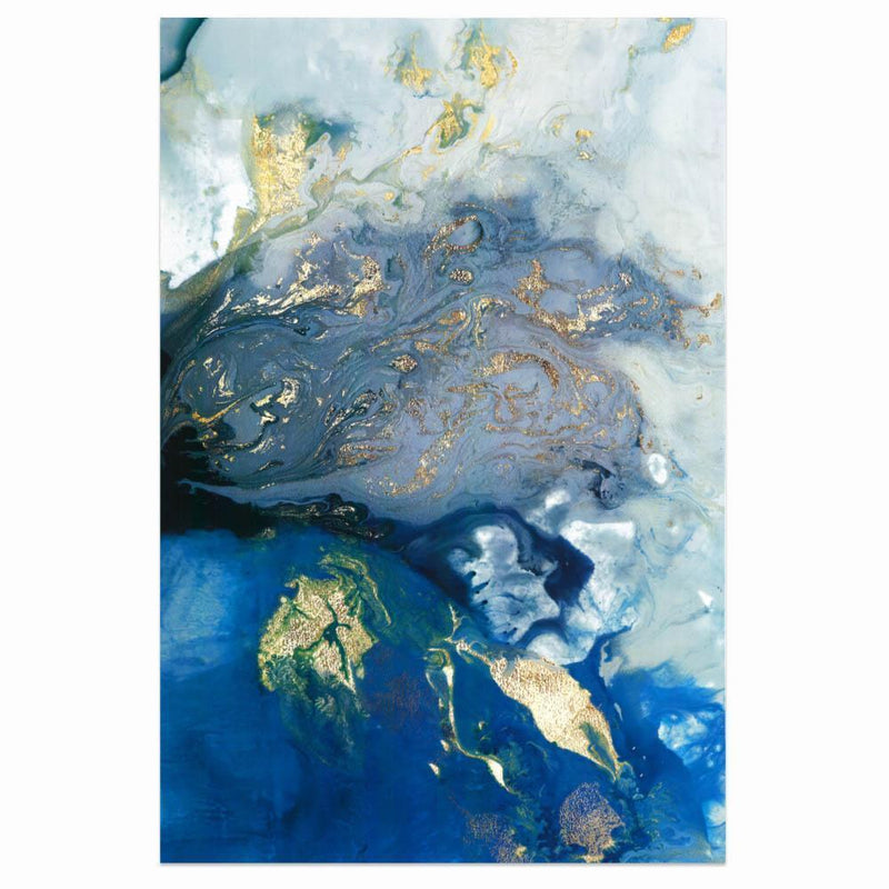 Wall-Art-Poster-Canvas-Framed-Marbled Blue and Gold, Abstract Art, Style B-Gioia Wall Art