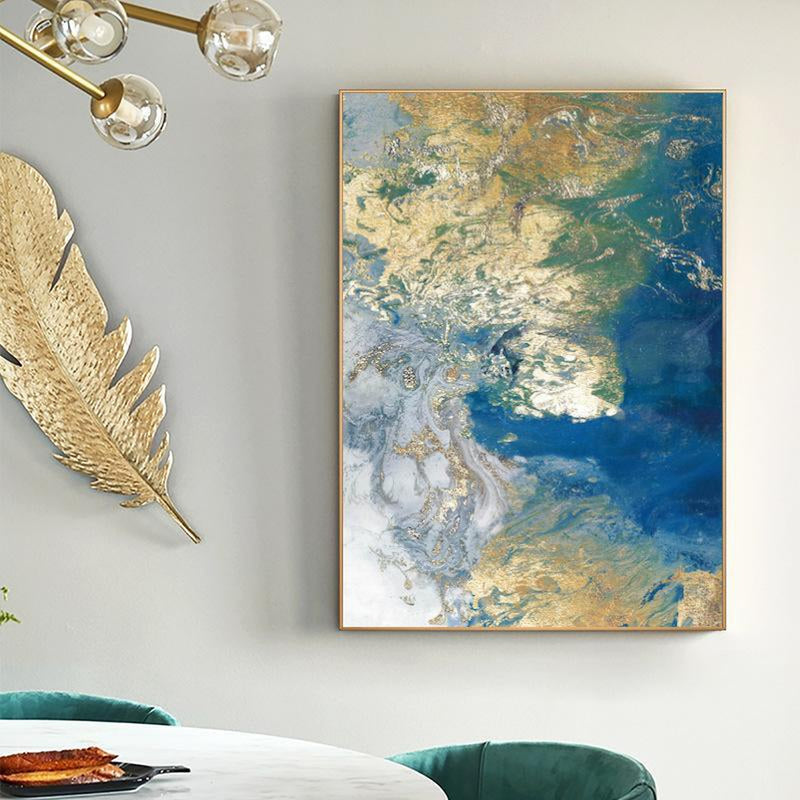 Wall-Art-Poster-Canvas-Framed-Marbled Blue and Gold, Abstract Art, Style C-Gioia Wall Art