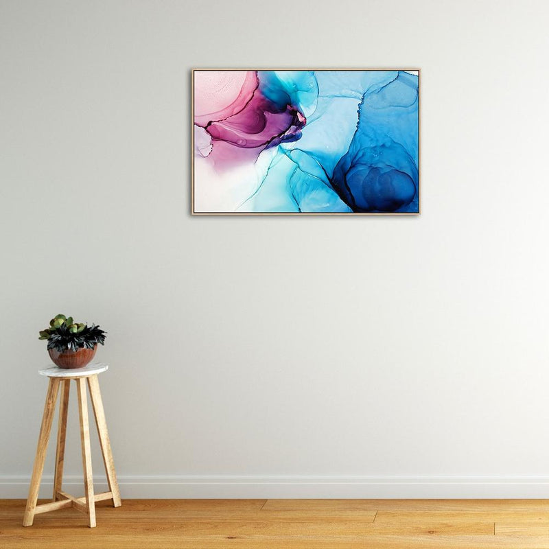 Wall-Art-Poster-Canvas-Framed-Marbled Blue and Pink-Gioia Wall Art