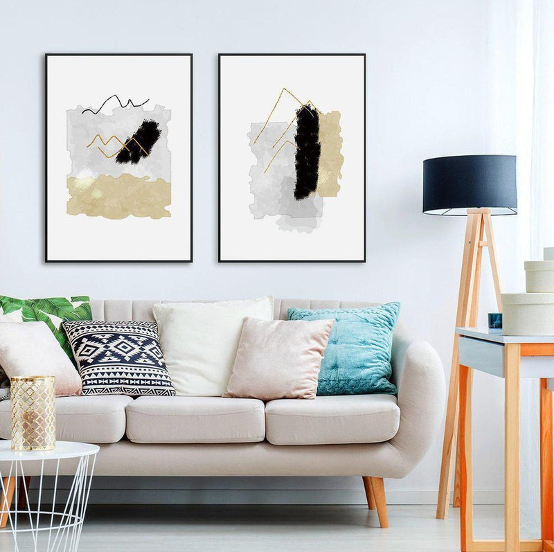 Wall-Art-Poster-Canvas-Framed-Melody, Abstract Art, Tan, Grey And Black , Set Of 2-Gioia Wall Art