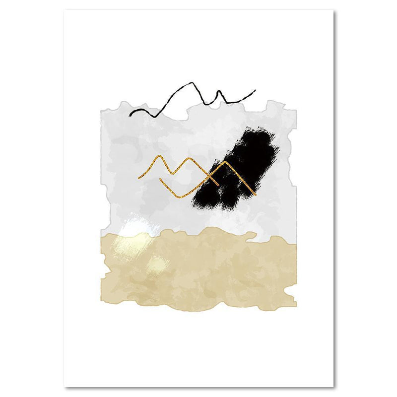 Wall-Art-Poster-Canvas-Framed-Melody, Abstract Art, Tan, Grey And Black, Style A-Gioia Wall Art