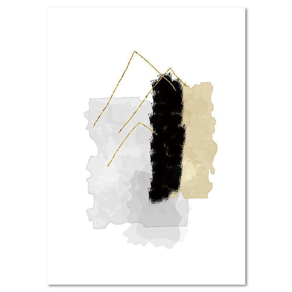 Wall-Art-Poster-Canvas-Framed-Melody, Abstract Art, Tan, Grey And Black, Style B-Gioia Wall Art