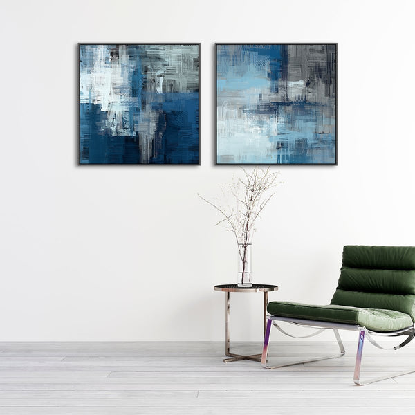 Wall-Art-Poster-Canvas-Framed-Midnight Wish, Abstract Art, Set Of 2-Gioia Wall Art