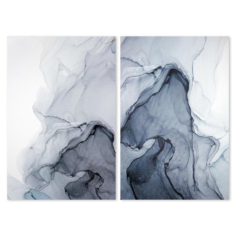 Wall-Art-Poster-Canvas-Framed-Misty Fog, Ink Painting Art, Set Of 2-Gioia Wall Art