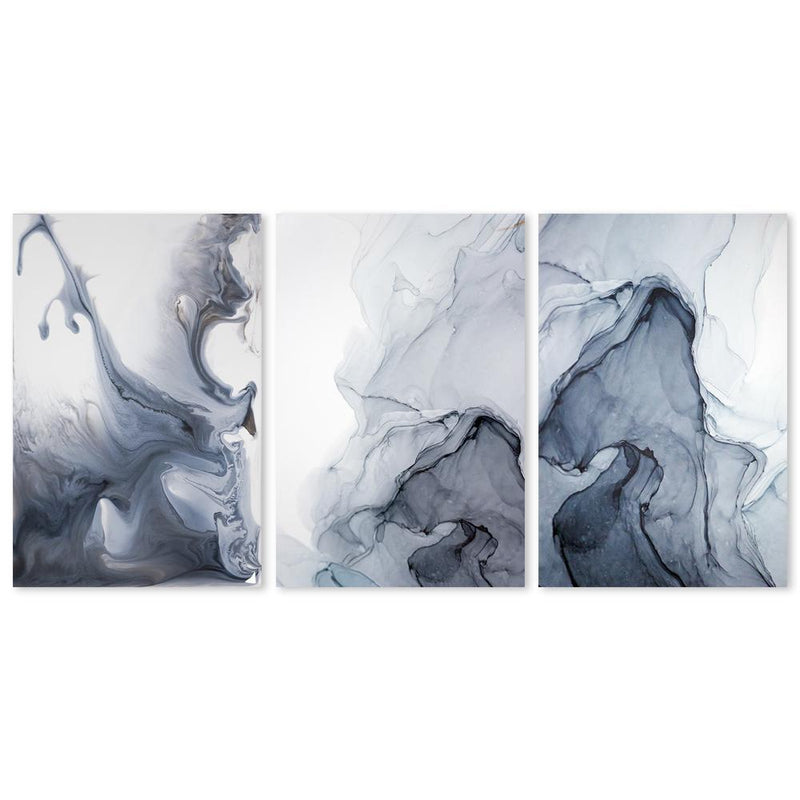 Wall-Art-Poster-Canvas-Framed-Misty Fog, Ink Painting Art, Set Of 3-Gioia Wall Art