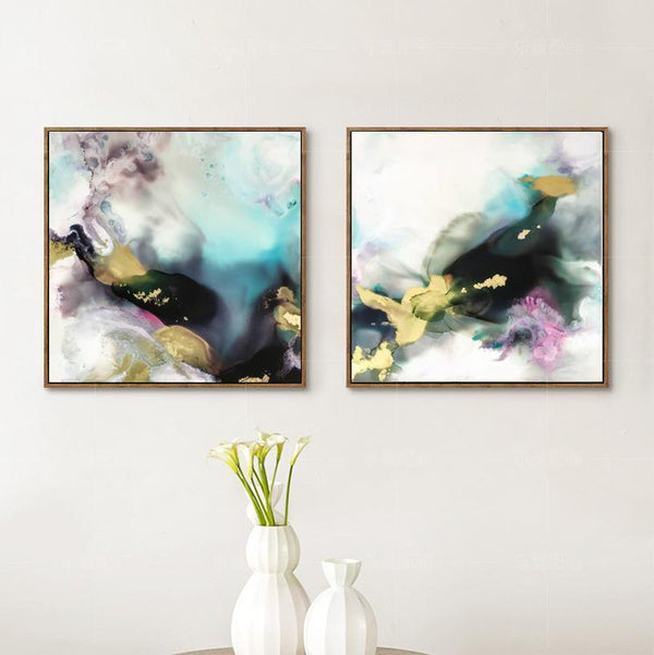 Wall-Art-Poster-Canvas-Framed-Misty Marble Pattern Ink Painting, Turquoise, Tan, Pink And Dark Green, Set Of 2-Gioia Wall Art
