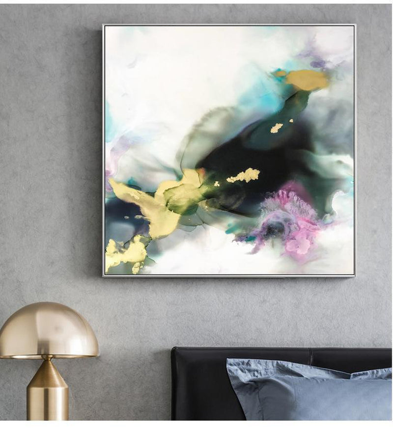 Wall-Art-Poster-Canvas-Framed-Misty Marble Pattern Ink Painting, Turquoise, Tan, Pink And Dark Green, Style B-Gioia Wall Art
