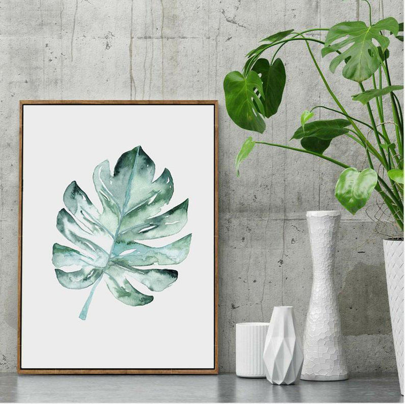 Wall-Art-Poster-Canvas-Framed-Monstera Leaf, Watercolour Painting-Gioia Wall Art