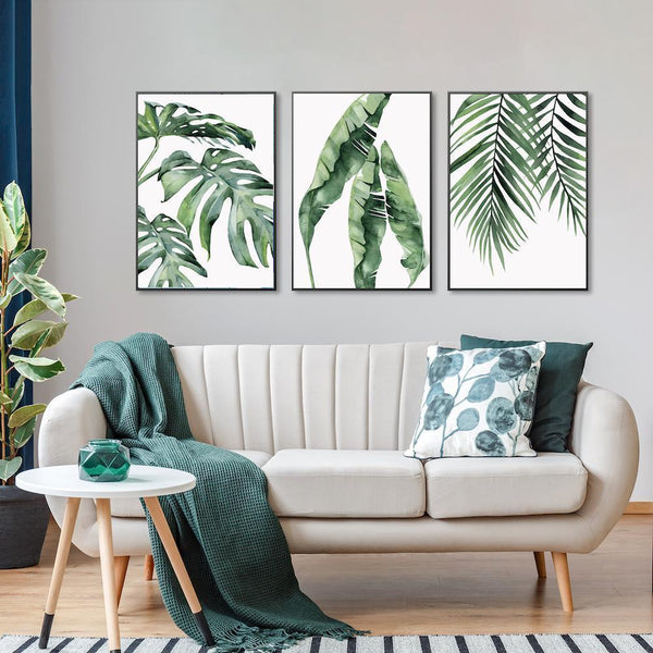 Wall-Art-Poster-Canvas-Framed-Monstera Leaves, Banana Leaves And Palm Leaves, Set Of 3-Gioia Wall Art