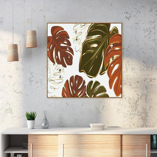 Wall-Art-Poster-Canvas-Framed-Monstera leaves in rusty green and orange-Gioia Wall Art