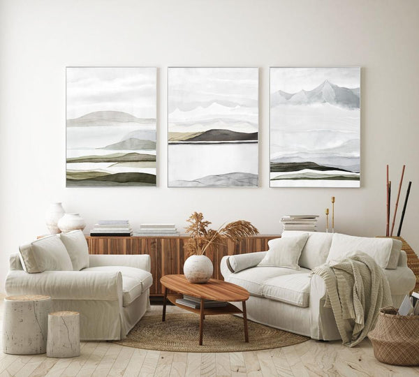 Wall-Art-Poster-Canvas-Framed-Mountains, Abstract, Set Of 3-Gioia Wall Art