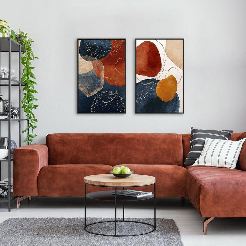Wall-Art-Poster-Canvas-Framed-Navy And Burnt Orange Abstract, Set of 2-Gioia Wall Art