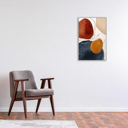 Wall-Art-Poster-Canvas-Framed-Navy And Burnt Orange Abstract, Style B-Gioia Wall Art