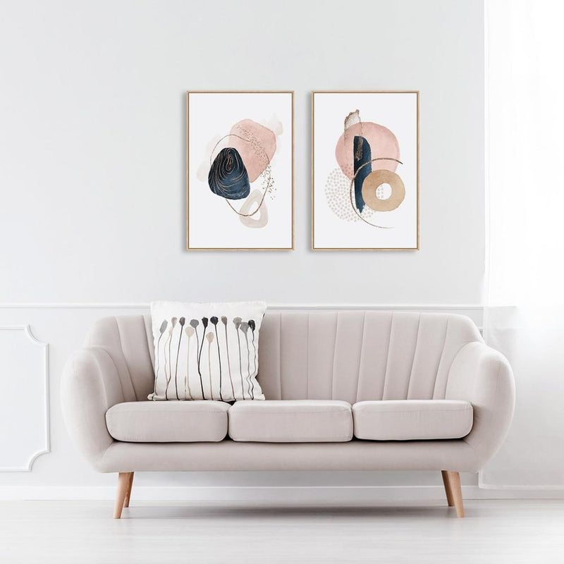 Wall-Art-Poster-Canvas-Framed-Navy And Pink Abstract Shapes, Set Of 2-Gioia Wall Art