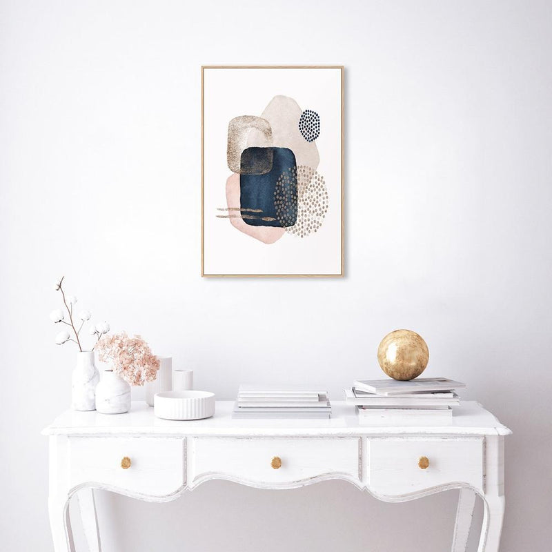 Wall-Art-Poster-Canvas-Framed-Navy And Pink Abstract Shapes, Style C-Gioia Wall Art