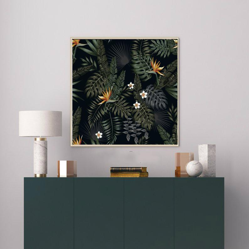 Wall-Art-Poster-Canvas-Framed-Night Jungle, Tropical Leaves And Flowers, Fern, Plumeria And Bird Of Paradise-Gioia Wall Art