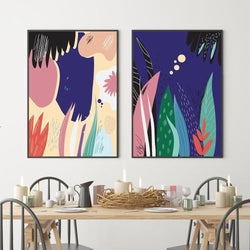 Wall-Art-Poster-Canvas-Framed-Night Party, Set Of 2-Gioia Wall Art