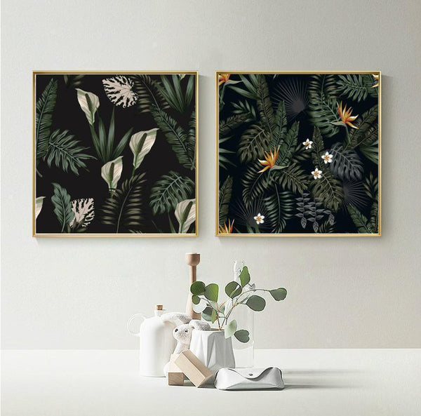 Wall-Art-Poster-Canvas-Framed-Night Tropical Jungle, Set Of 2-Gioia Wall Art