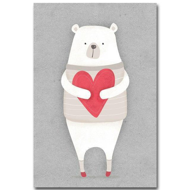 Wall-Art-Poster-Canvas-Framed-Nordic Bear, Holding Red Heart-Gioia Wall Art