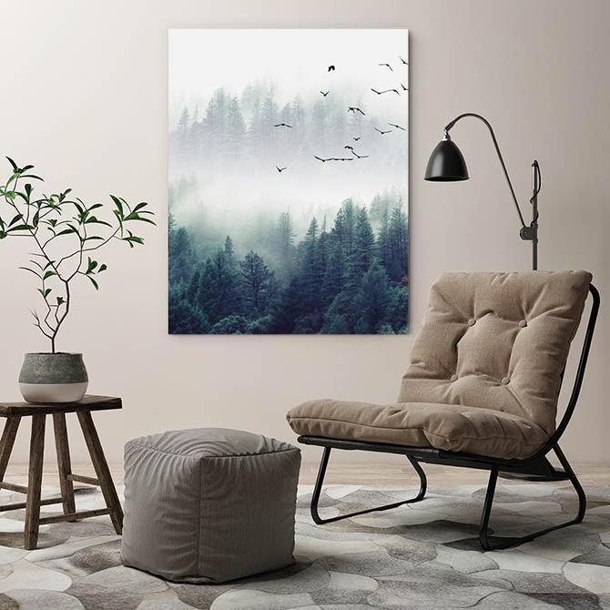 Wall-Art-Poster-Canvas-Framed-Nordic Foggy Forest And Flock-Gioia Wall Art