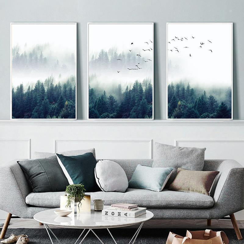 Wall-Art-Poster-Canvas-Framed-Nordic Foggy Forest Landscape, Set Of 3-Gioia Wall Art